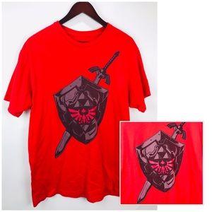 Zelda T-shirt Mens Sz L Red Sword & Shield